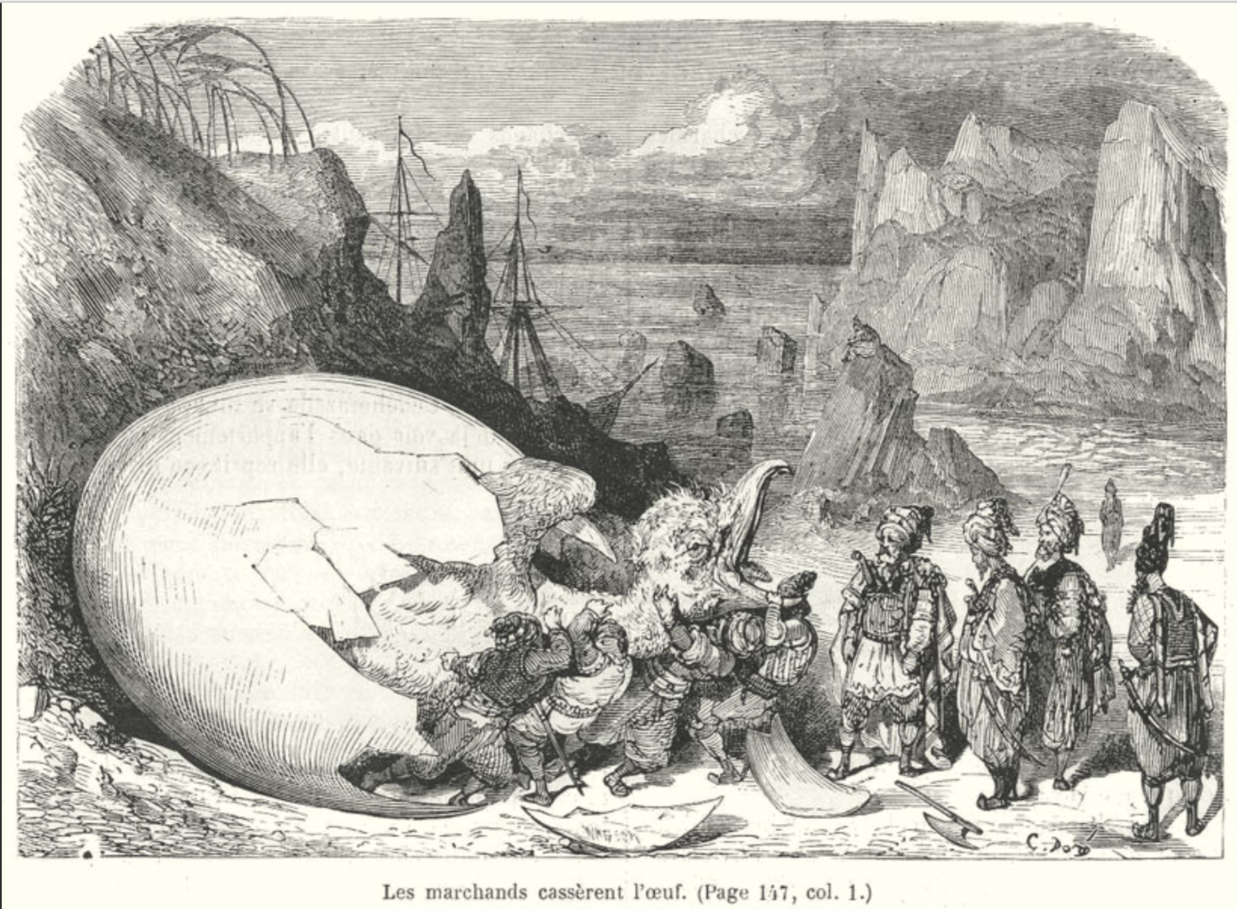 The merchants break the roc's egg, Le Magasin pitoresque, Paris, 1865