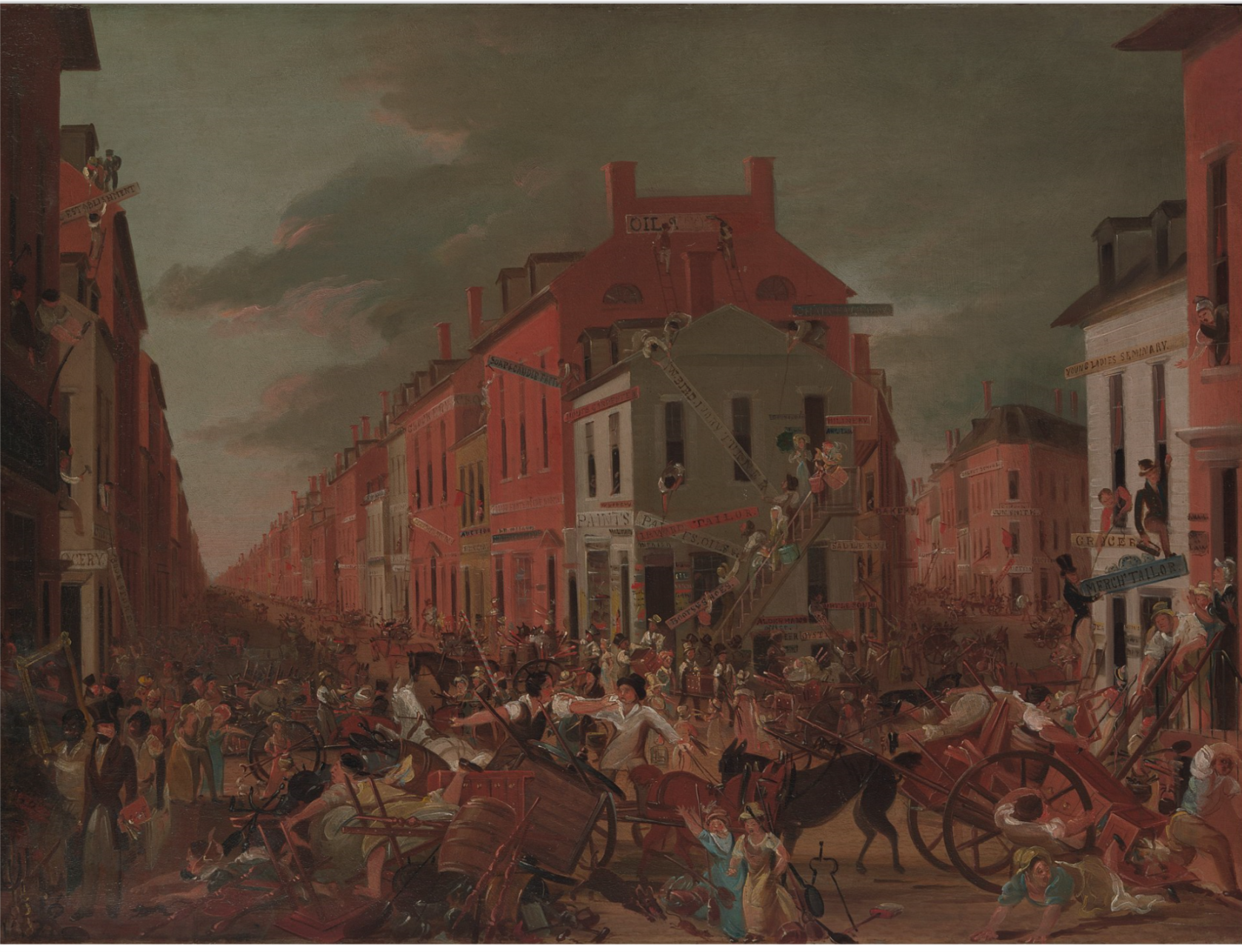 Moving Day in Little Old New York , satirical painting, c.1827