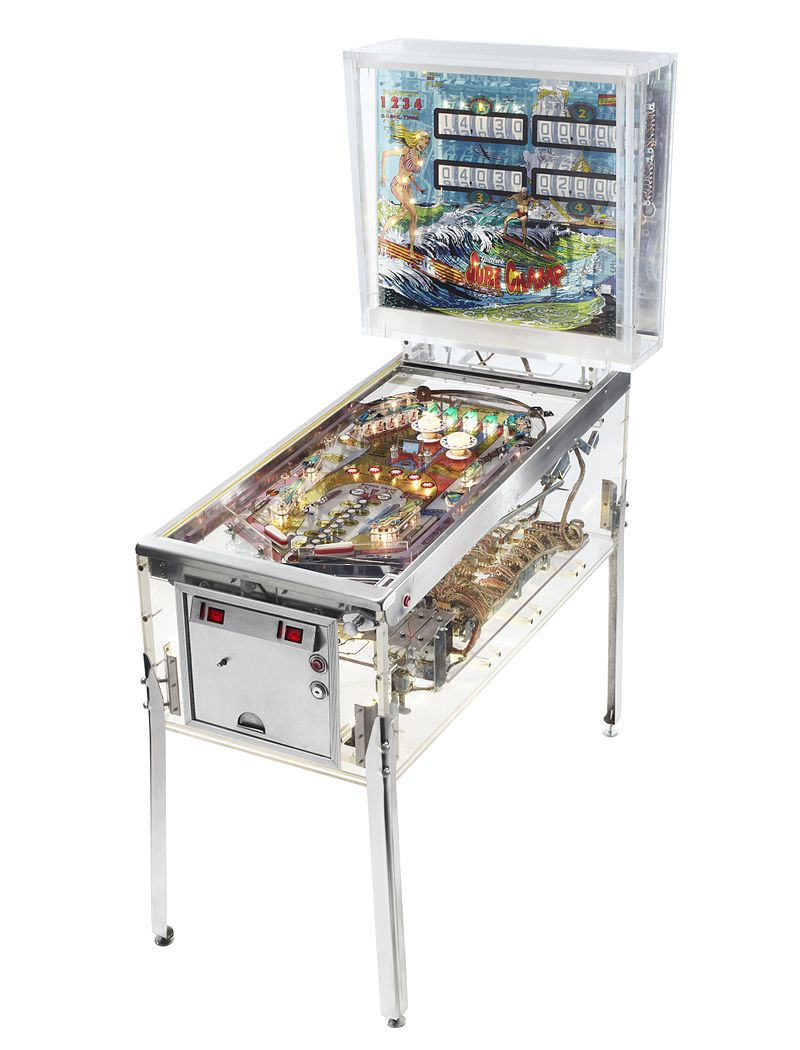 A clear walled electromechanical pinball machine created by the Pacific Pinball Museum to show what the insides of pinball machines look like. Visible_Pinball_III.jpg: Kevin Tiell for the Pacific Pinball Museum derivative work: Sven Manguard - This file was derived from: Visible Pinball III - Pacific Pinball Museum.jpg