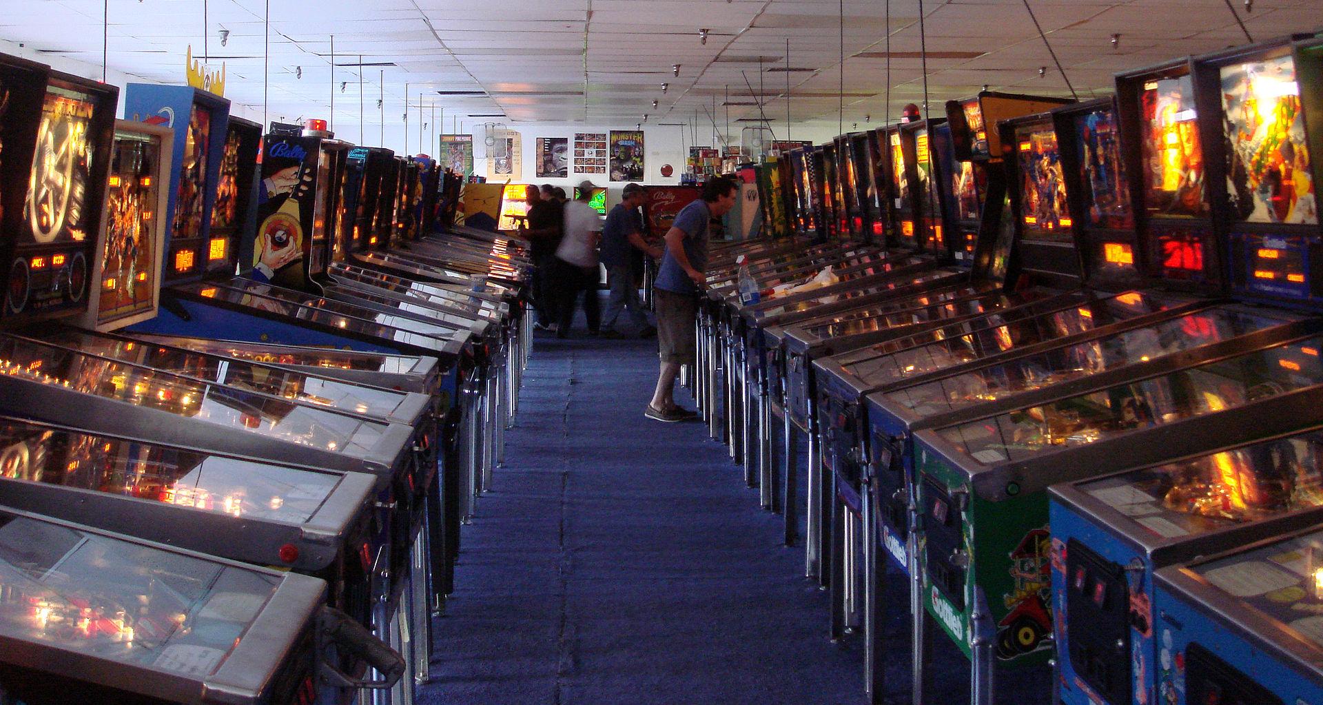 A row of pinball machines at the Pinball Hall of Fame in Las Vegas, Nevada. Bobak Ha'Eri - Own work