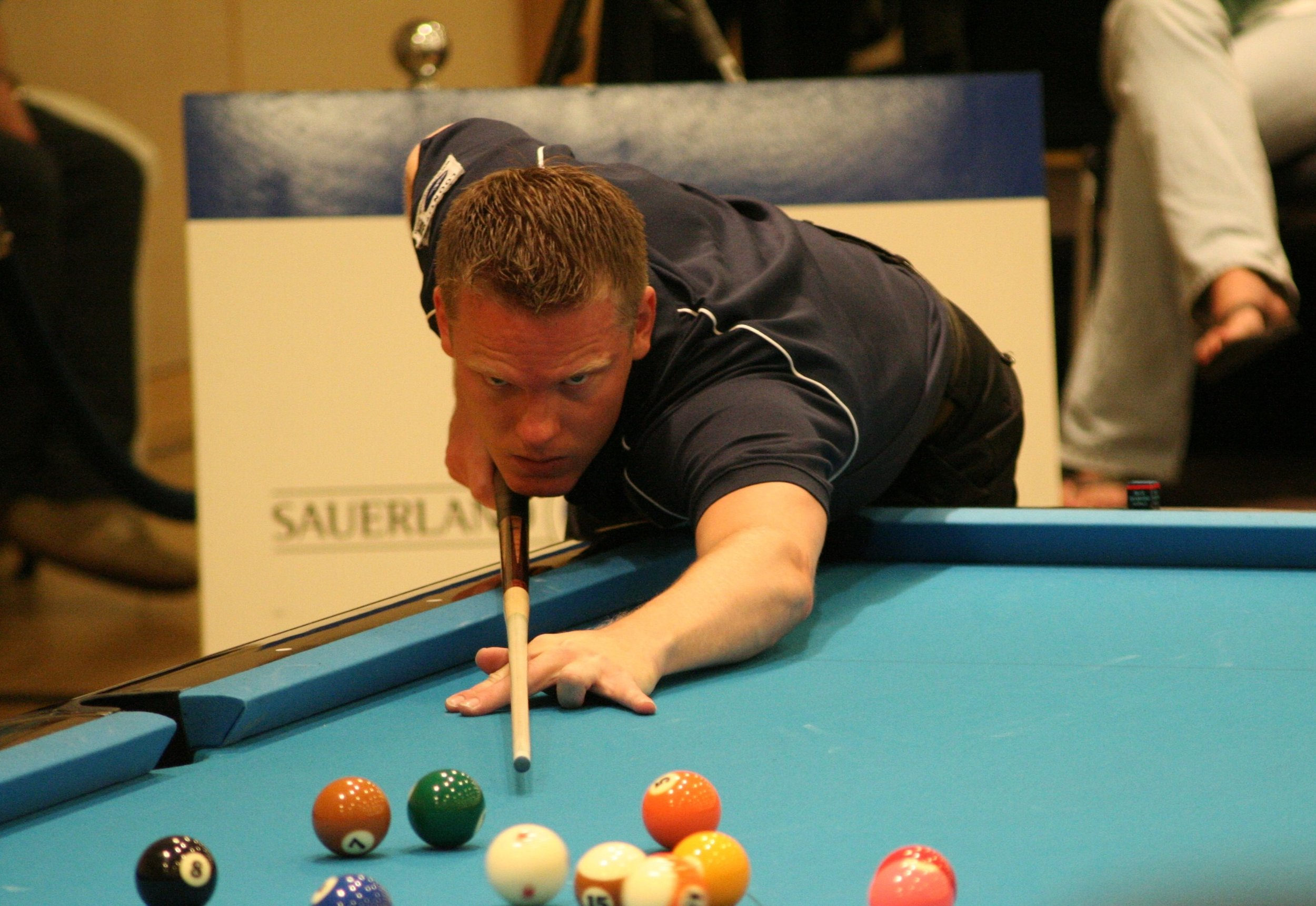 Dutch pool player  Niels Feijen  at the 2008  European Pool Championship . Sebastian Voigt; upload by  Tmv23  - Photo by Sebastian Voigt.