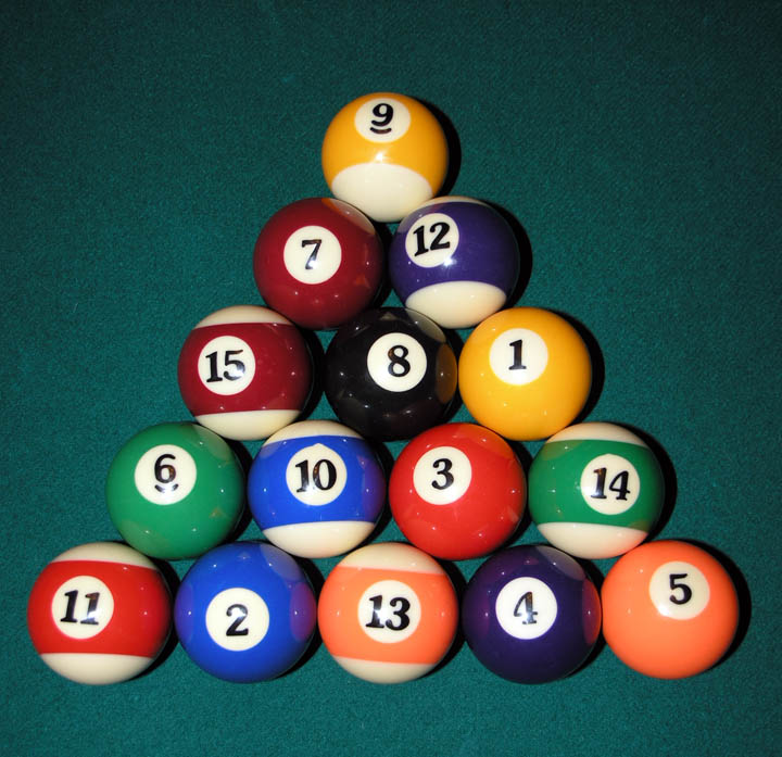 Eight-ball rack: Full rack of fifteen balls, ready for the break shot. One of numerous proper racks in standardized eight-ball:  The two rear corner balls are of different suits, the 8 ball is in the center, and the apex ball is on the foot spot.