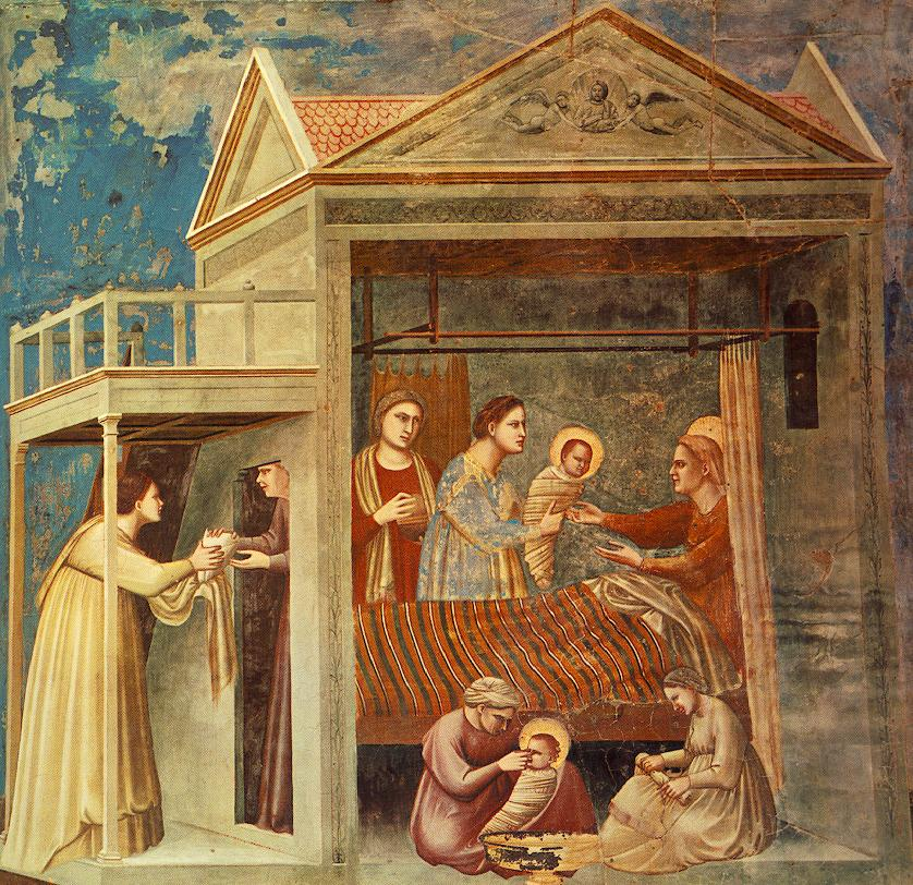 The Birth of the Blessed Virgin Mary by Giotto, in the Scrovegni Chapel Padua, Italy (circa 1305)