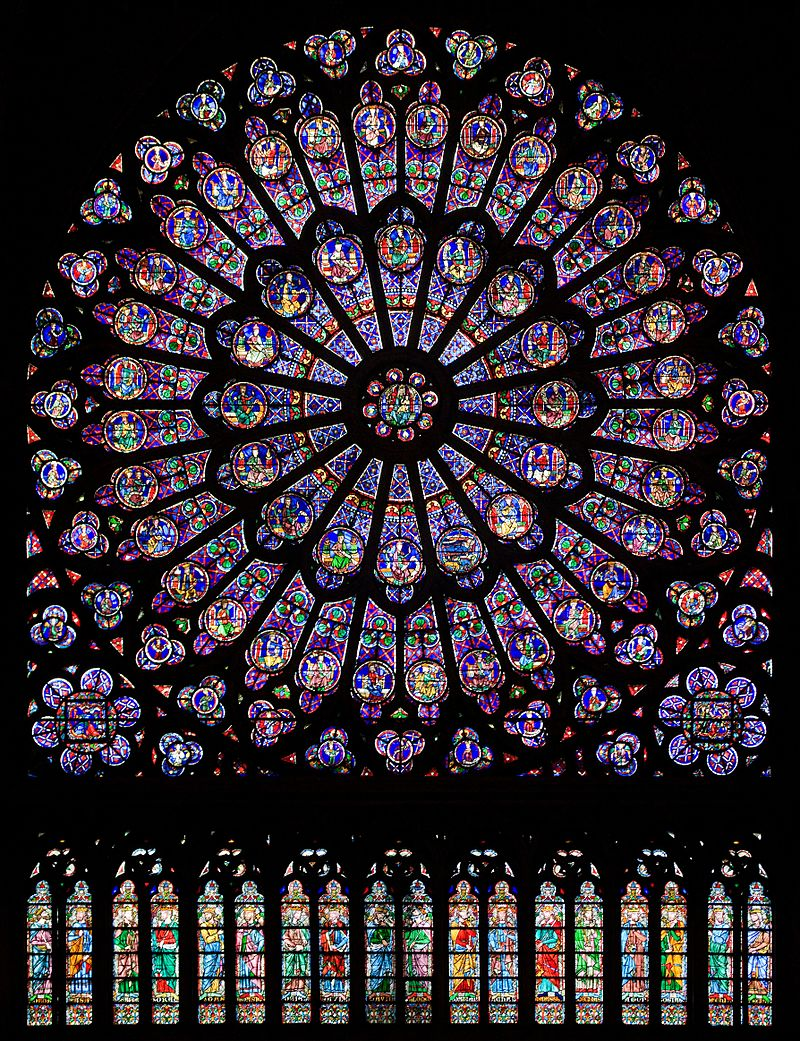 The north rose window of the Cathédrale Notre-Dame de Paris,  an example of Rayonnant architecture,  and the row of figures in stained glass below.   The north rose window of the Cathédrale Notre-Dame de Paris, an example of Rayonnant architecture, and the row of figures in stained glass below.  (In French Gothic architecture, Rayonnant was the period between c. 1240 and 1350, characterized by a shift in focus away from the High Gothic mode of utilizing great scale and spatial rationalism (such as with buildings like Chartres Cathedral or the nave of Amiens Cathedral) towards a greater concern for two dimensional surfaces and the repetition of decorative motifs at different scales.  After the mid-14th century, Rayonnant gradually evolved into the Late Gothic Flamboyant style, although the point of transition is not clearly defined.)   Julie Anne Workman - Own work
