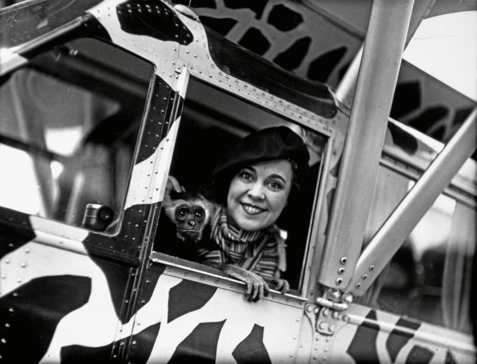 Osa with a gibbon in an airplane  George Eastman House - originally posted to Flickr as Osa and airplane