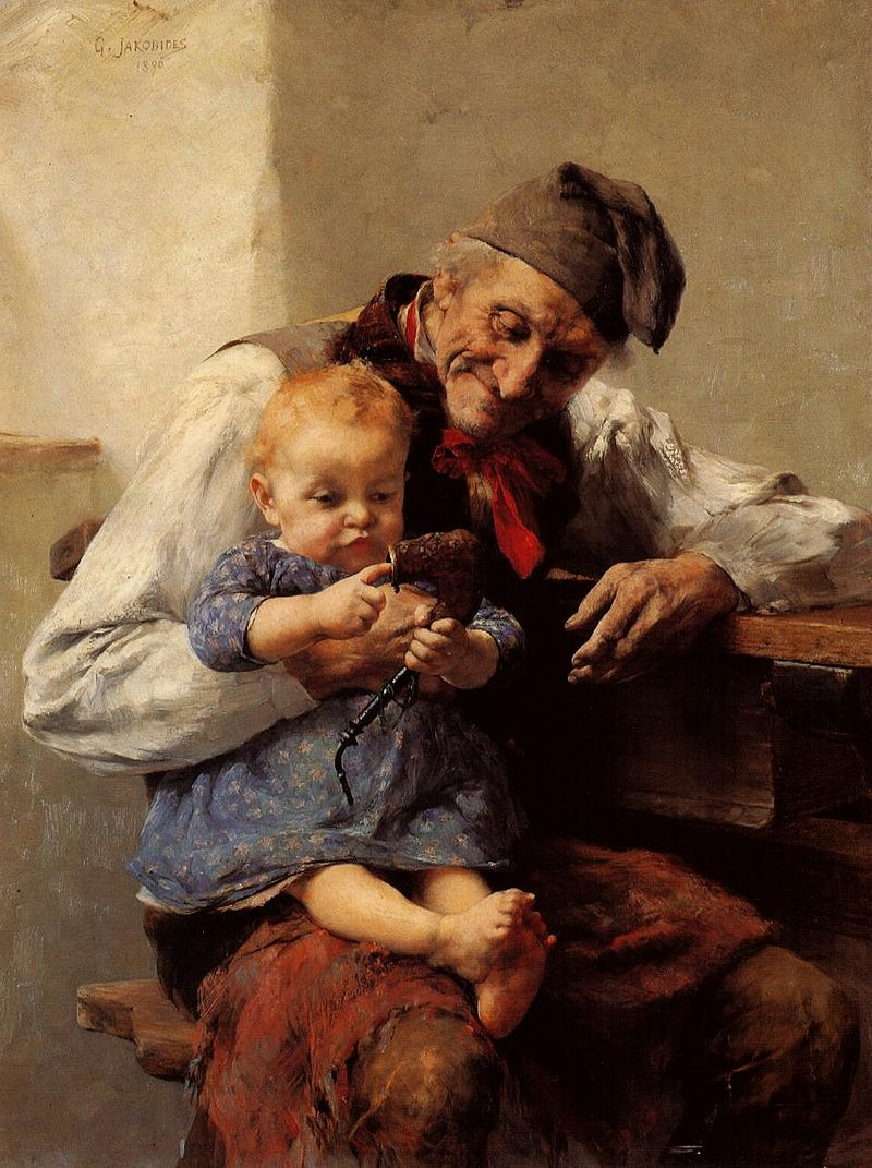 Grandparents  The Favorite – Grandfather and Grandson,  by Georgios Jakobides (1890)