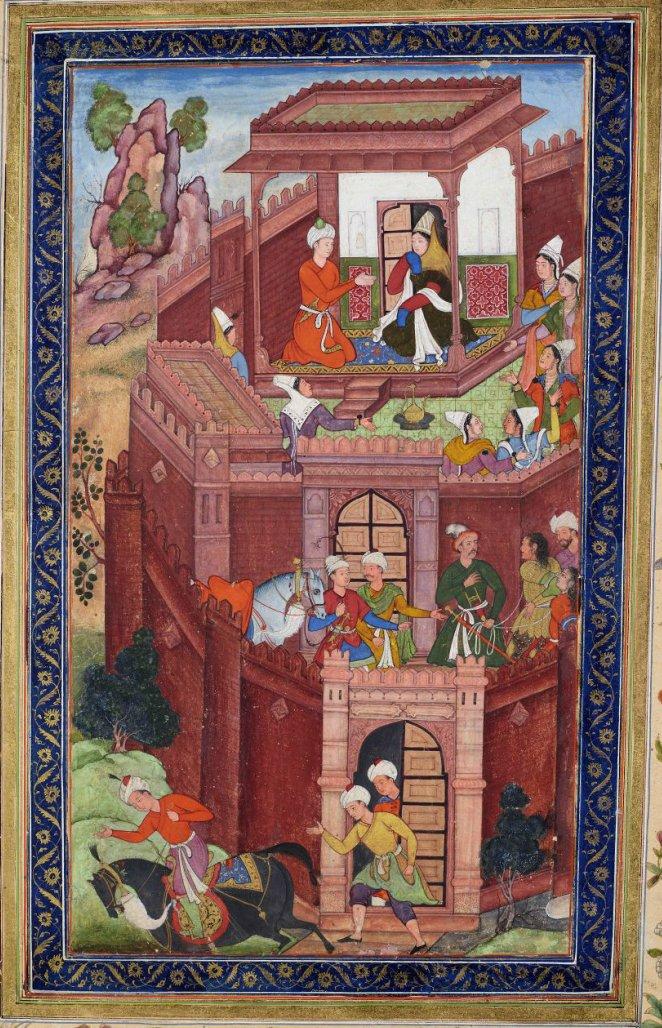 Timurid conqueror Babur seeks the advice of his grandmother.    Painters of Akbar - Baburnama