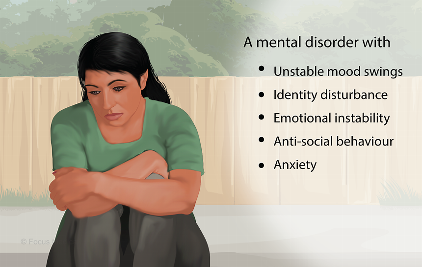 Borderline personality disorder A mental disorder characterized by instability in mood, behavior, and functioning.