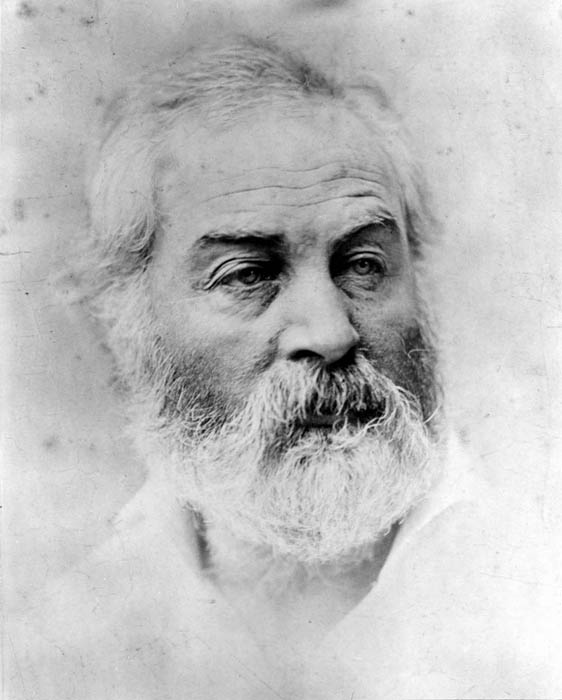 """Of all his many portraits, Whitman declared this photo, """"the best picture of all…I was at my best—physically at my best, mentally, every way."""" Age 44. Photo courtesy of the Alderman Library, University of Virginia."""