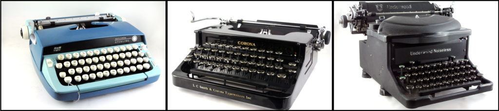 From left to right: A Smith Corona Sterling, Smith Corona Silent Four Bank, and Underwood Noiseless Upright desktop