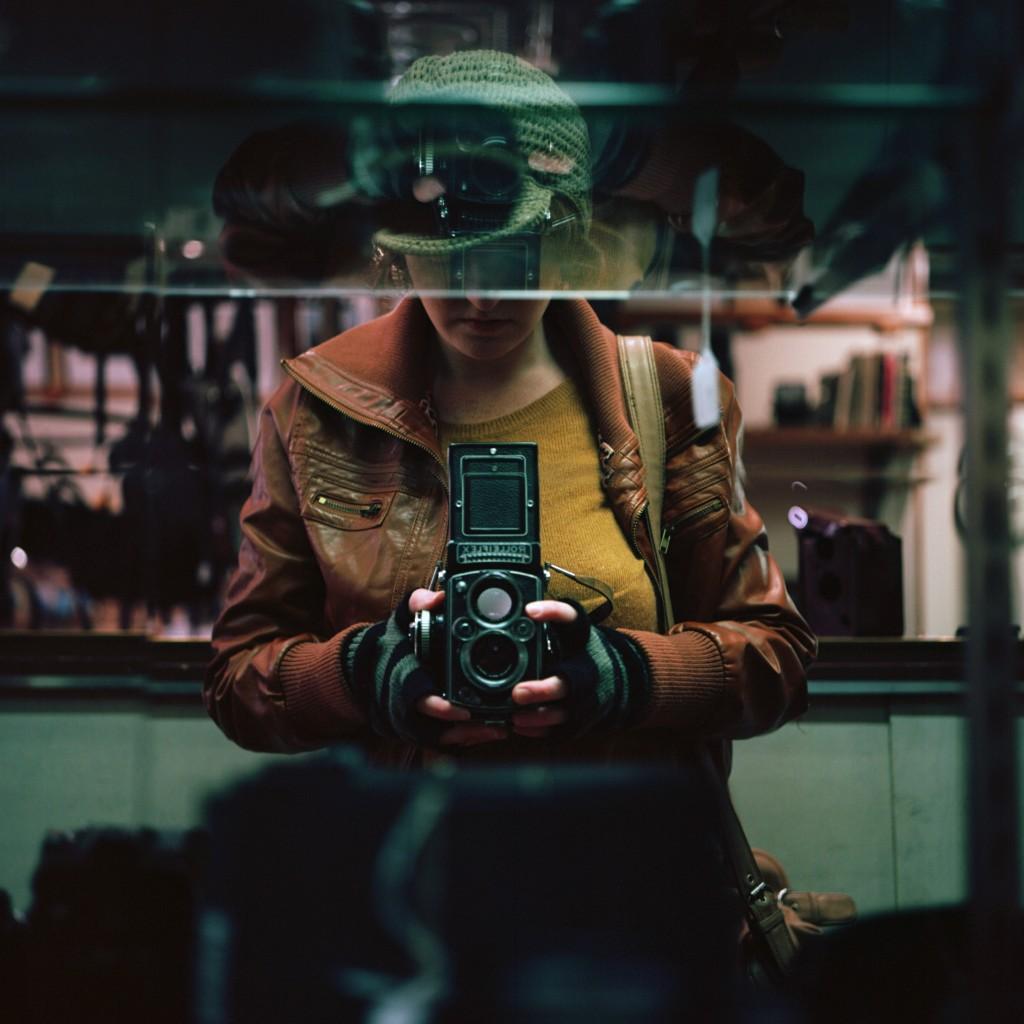 My own attempt at a Vivian Maier-esque self portrait, using a similar Rolleiflex. Photo by Katt Janson