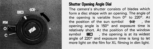 The workings of the Canon 1014XL-S shutter control, from the Canon 1014XL-S manual.