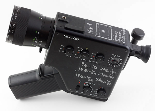 The author's Super 8 camera, covered in reminders to help during shooting.   Camera manuals in this entry were found at  apecity.com .