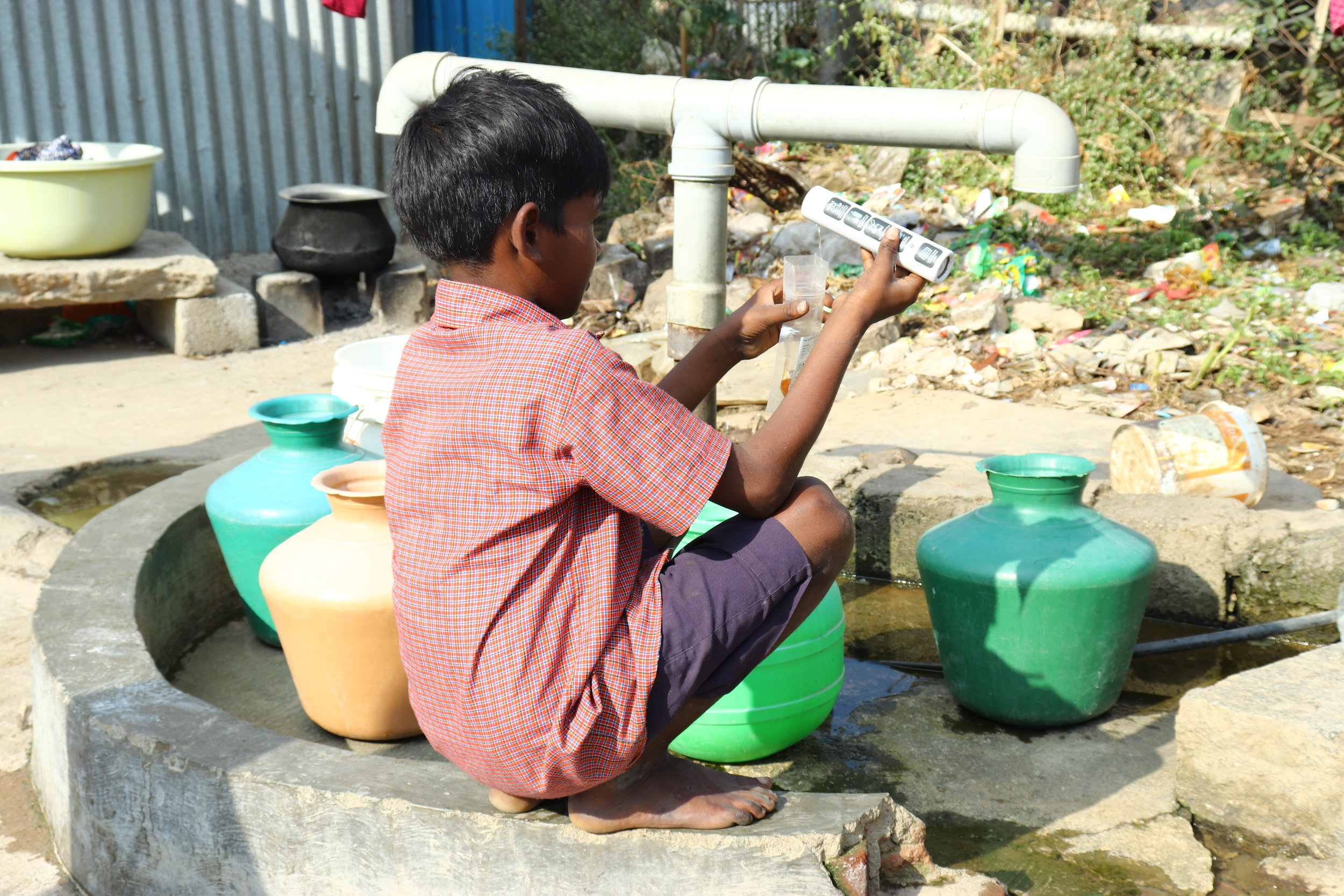 A young boy in Kanpur, India takes the water quality of his village into his own hands with the Oasis Test.