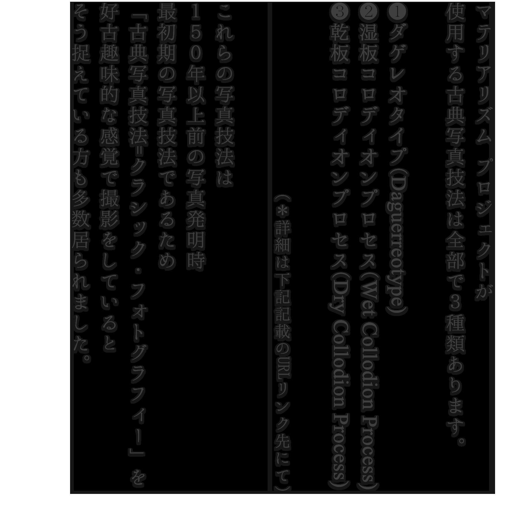 マテリアリズム プロジェクトが 使用する古典写真技法は全部で3種類あります。  ❶ダゲレオタイプ(Daguerreotype) ❷湿板コロディオンプロセス(Wet Collodion Process) ❸乾板コロディオンプロセス(Dry Collodion Process)                     (*詳細は下記記載のURLリンク先にて)  これらの写真技法は 150年以上前の写真発明時 最初期の写真技法であるため 「古典写真技法=クラシック・フォトグラフィー」を 好古趣味的な感覚で撮影をしていると そう捉えている方も多数居られました。