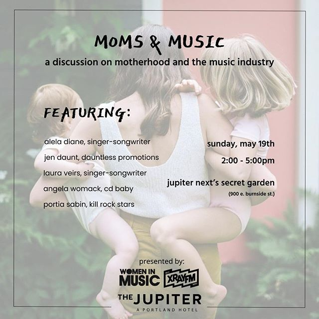 From our founder, @malq1484: I'm so excited to be moderating the first ever @wimpdx Moms & Music panel at @jupiterhotel this Sunday, 5/19, from 2:00-5:00pm, featuring panelists @lauraveirs, @aleladiane, @drporkchop71 (of @krsfow & @killrockstarsofficial), @angelawomack24 (of @cdbabymusic) & Jennifer Daunt (of @dauntlesspromo): bit.ly/2HjQZPn This is our first official #Portland chapter @womeninmusic panel, and we're psyched to have the wonderful @xrayfm sponsoring the event. Our Co-Chapter Chair (my partner in #WIMPDX awesomeness) Erica Sinkovic will be emceeing. Don't miss it! #MomsInMusic #WomenInMusic #PDX
