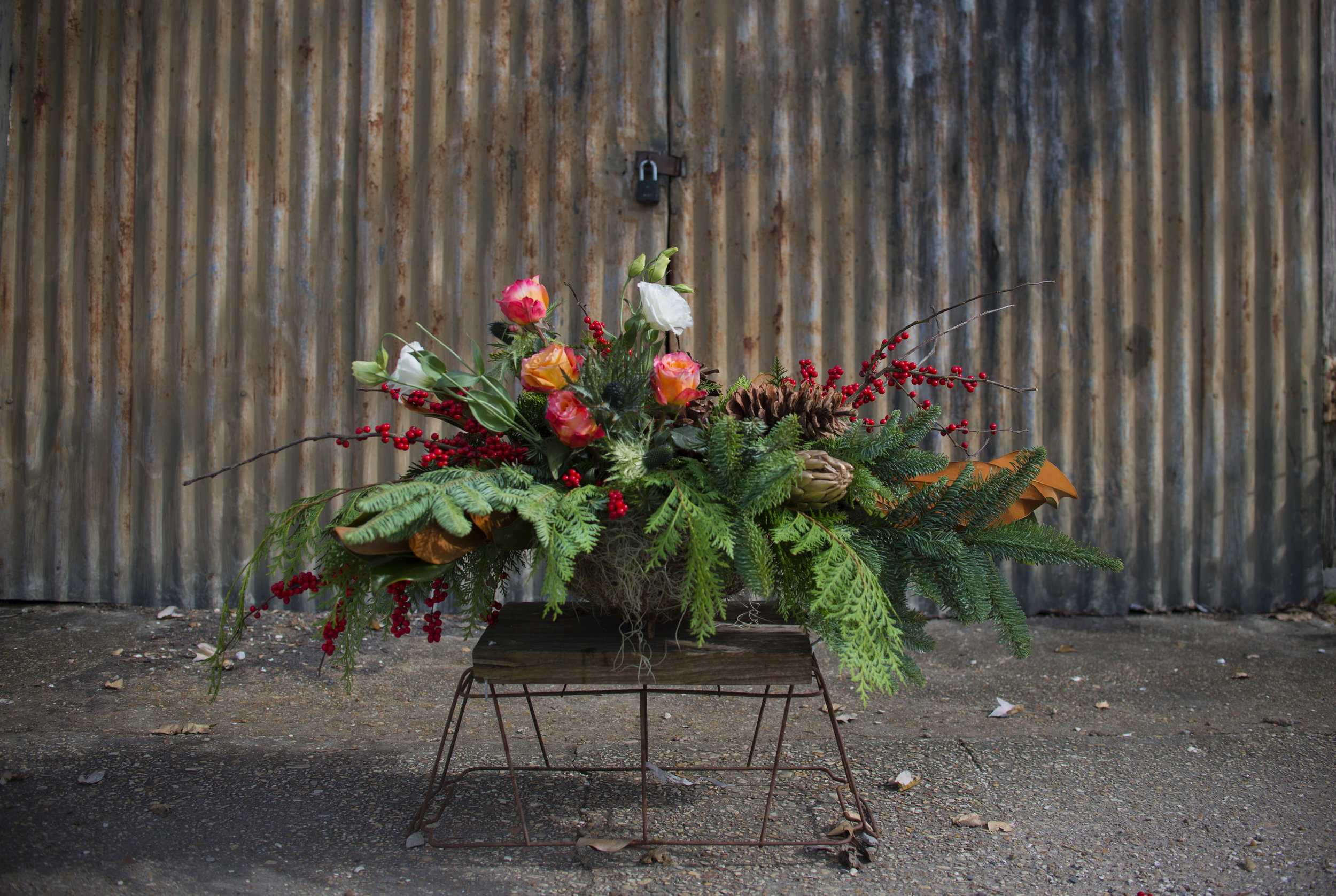 holiday centerpiece no floral foam mitchs flowers stephanie tarrant.jpg