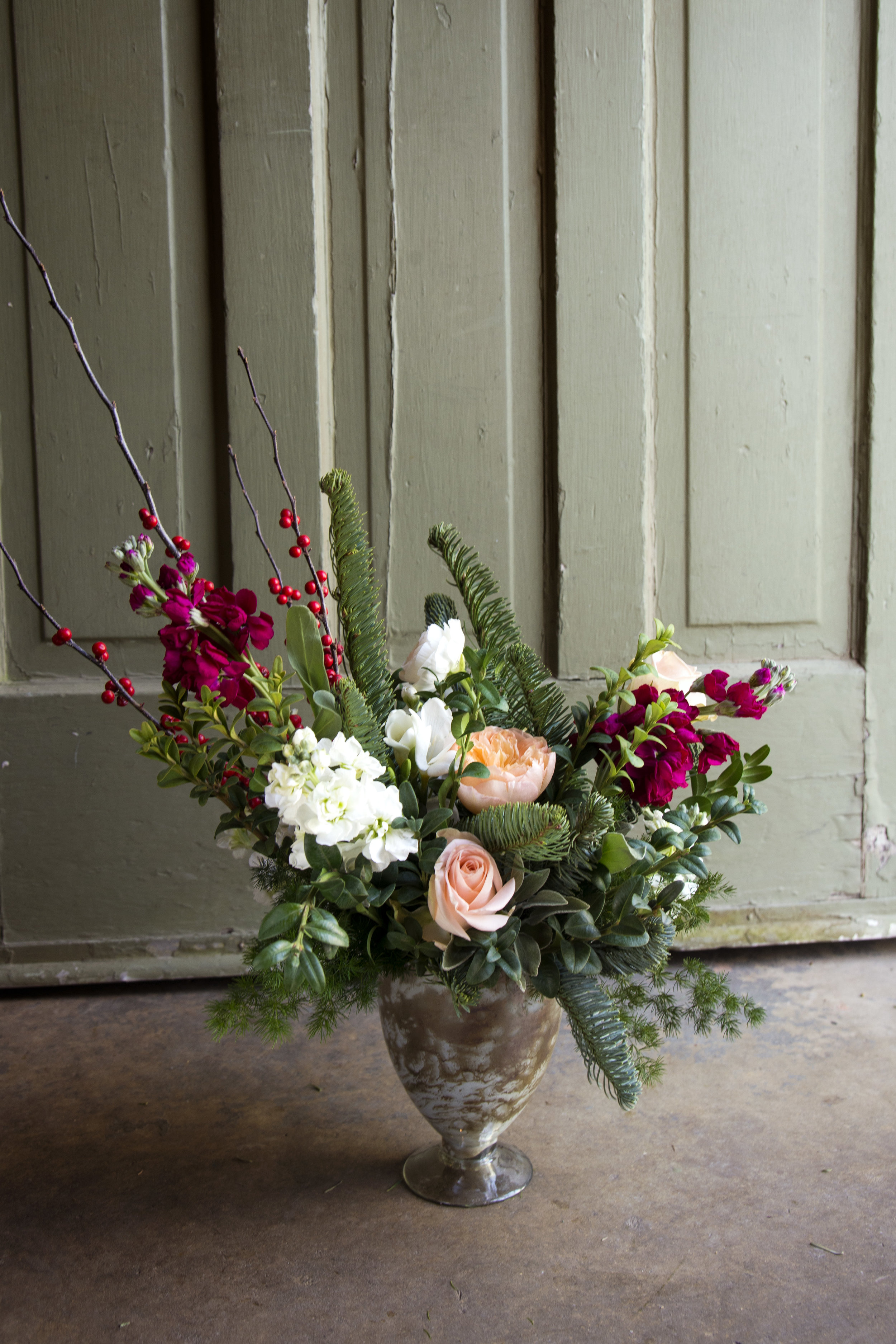 holiday 2 meets baby girls fresh cut flower arrangement stephanie tarrant mitchs flowers new orleans florist louisiana flower shop.jpg