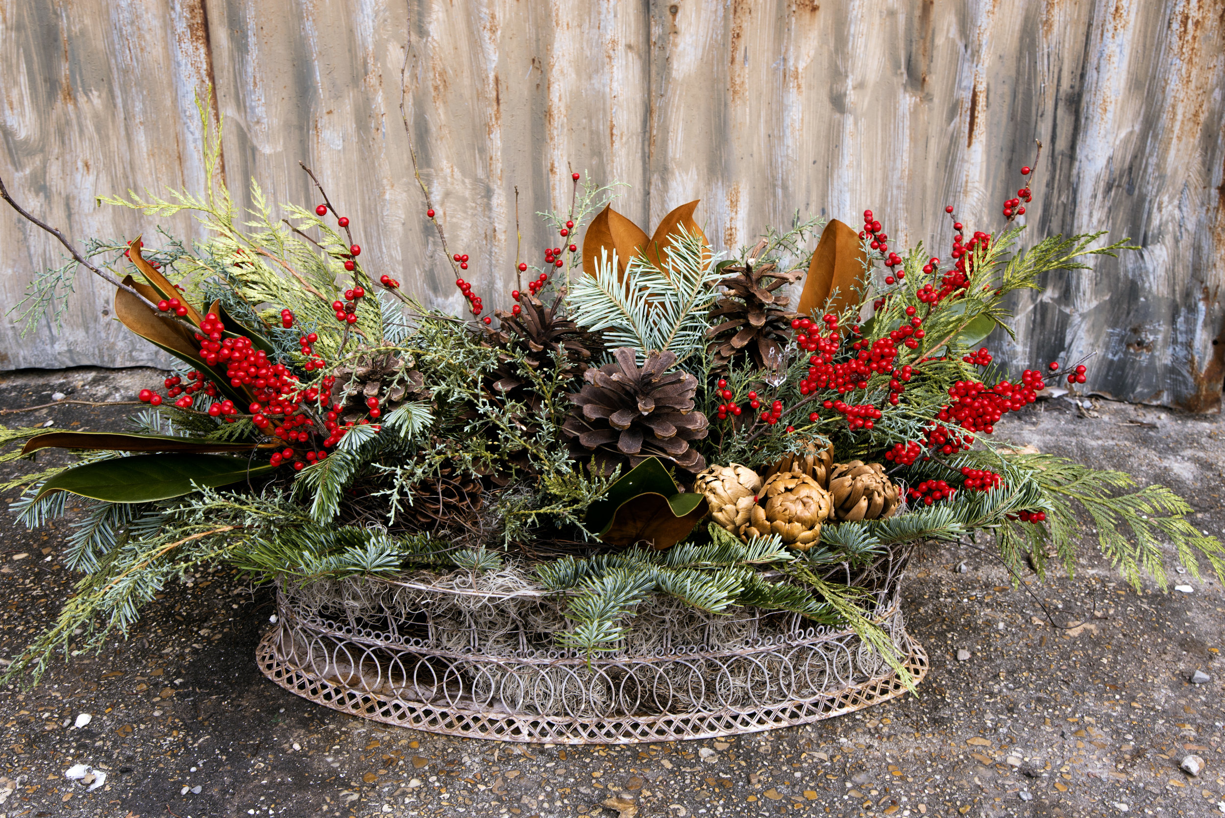 preserved holiday christmas greens centerpiece mitchs flowers new orleans florist flower shop louisiana denys mertz.jpg