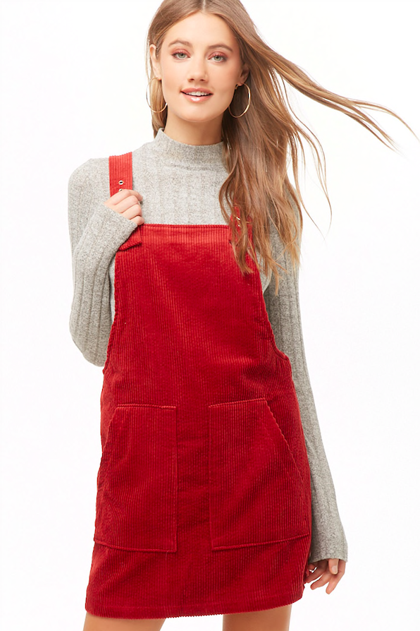 Rust Corduroy Overall Dress - @forever21