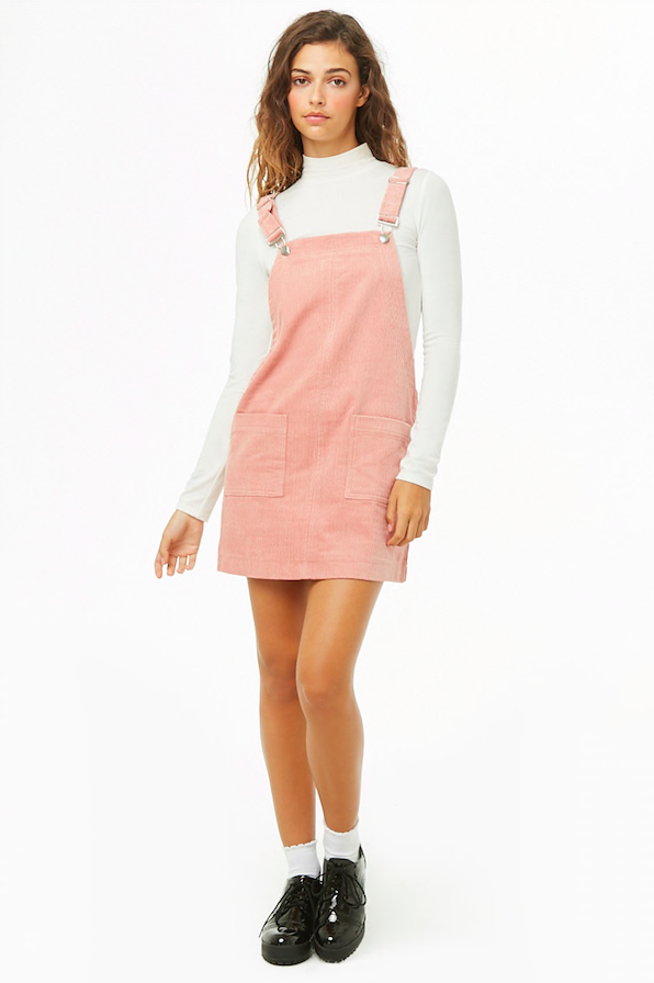 Pink Corduroy Mini Overall Dress - @forever21