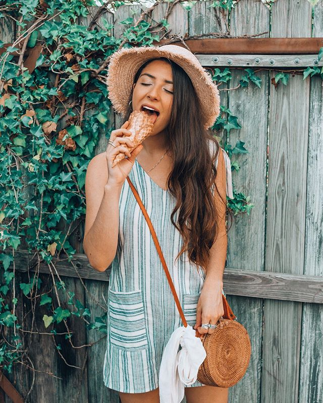 Life's like ice cream. Enjoy it before it melts.🍦😛 . . . Jewelry: @southindigoco  Romp: @lizardthicketpeachtreecity  Hat:  @unhingedlifestyleboutique