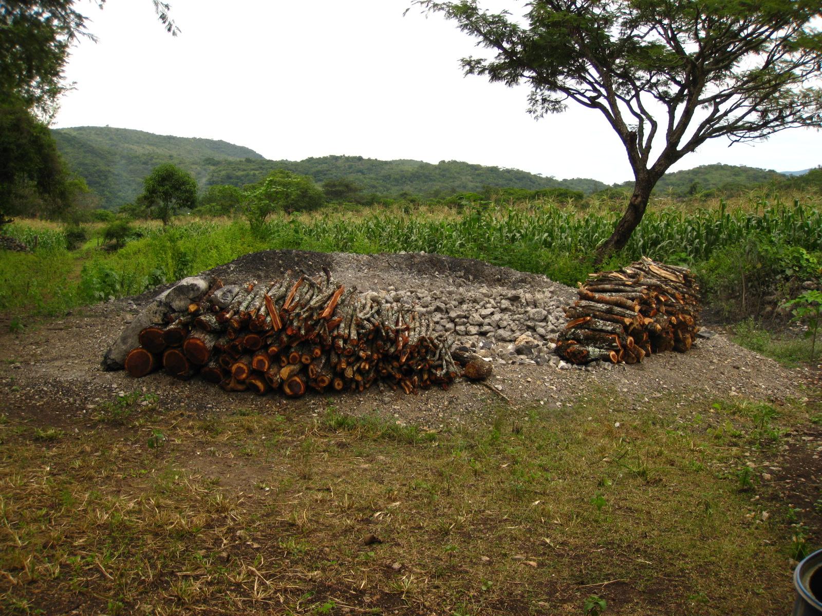 Horno de tierra con madera de ocote.