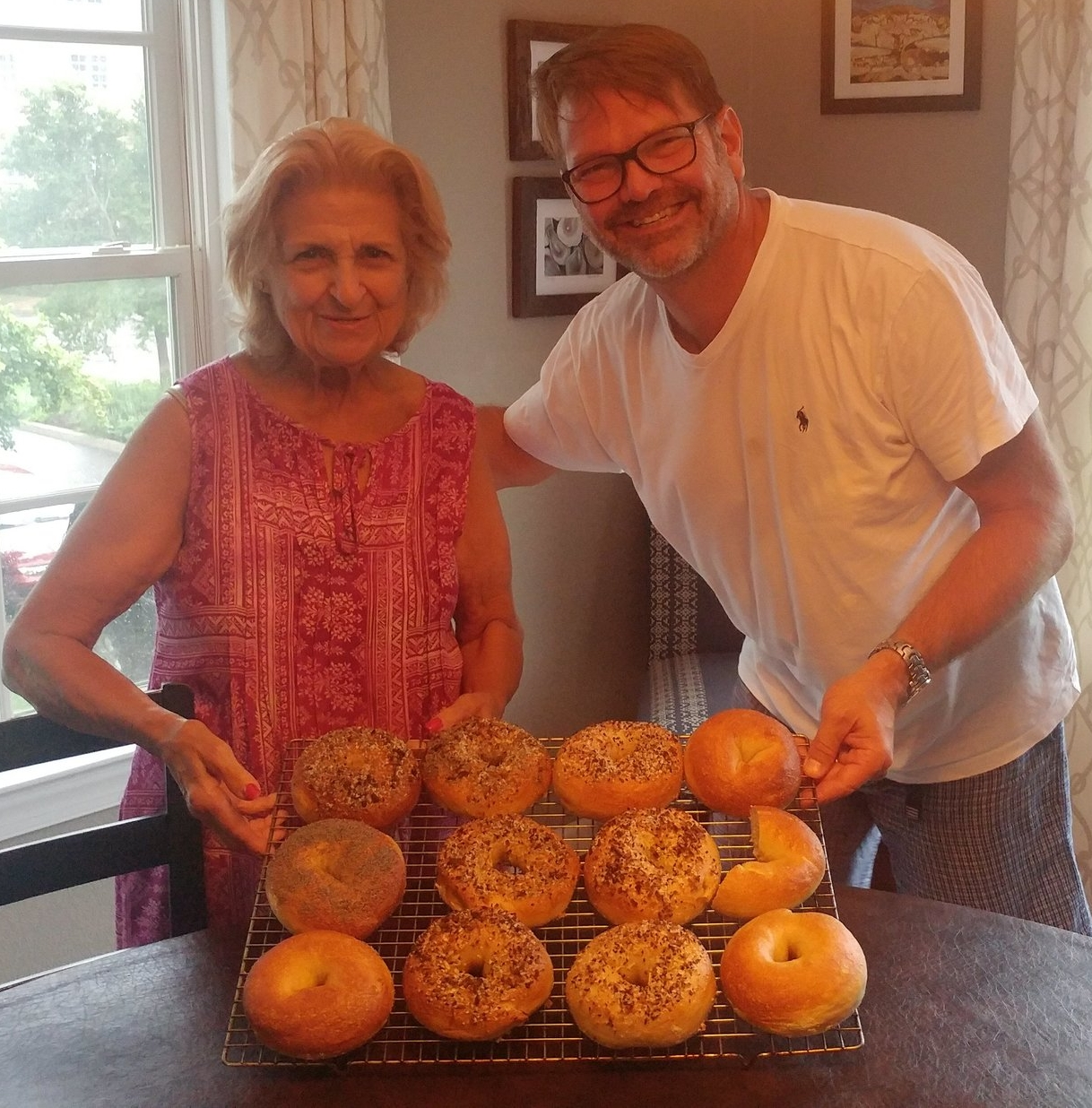 From Saturday. Got some help baking bagels from my mother-in-law, Nilza - the inspiration for  Bonus Days . (I think she might be a caregiver.)