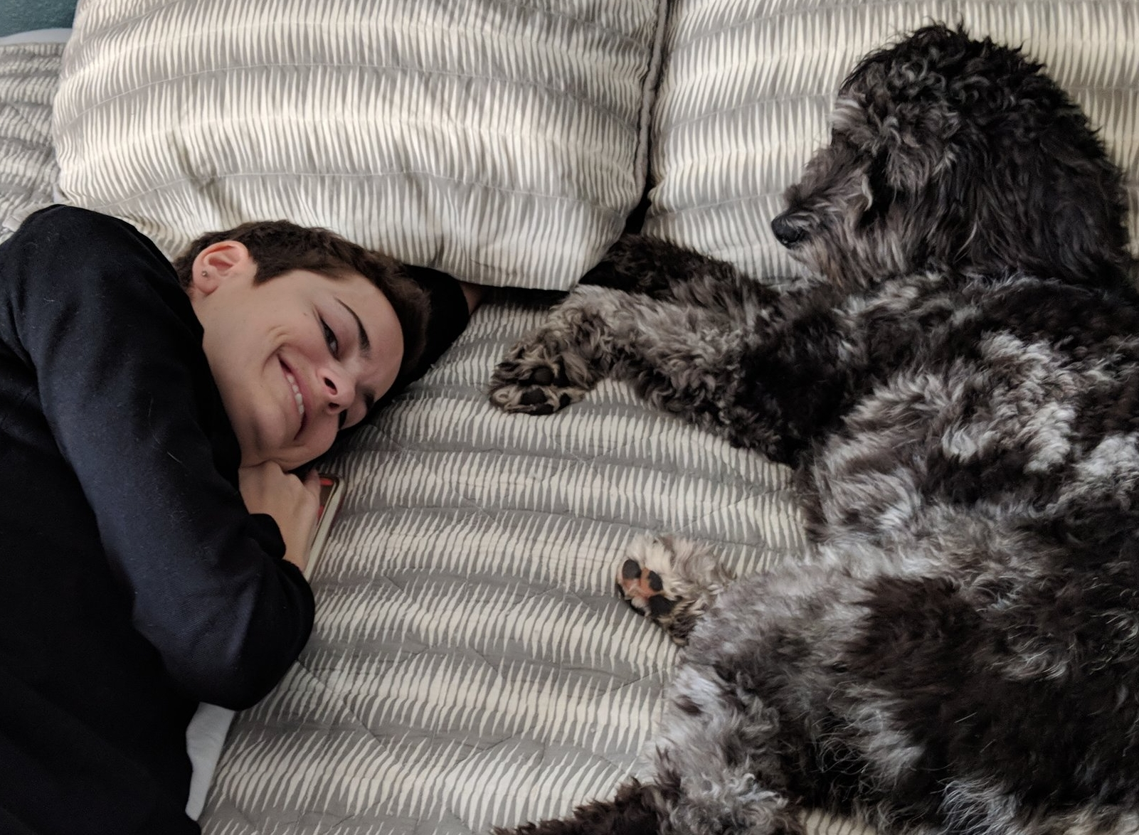 A girl and her dog  (at two years)