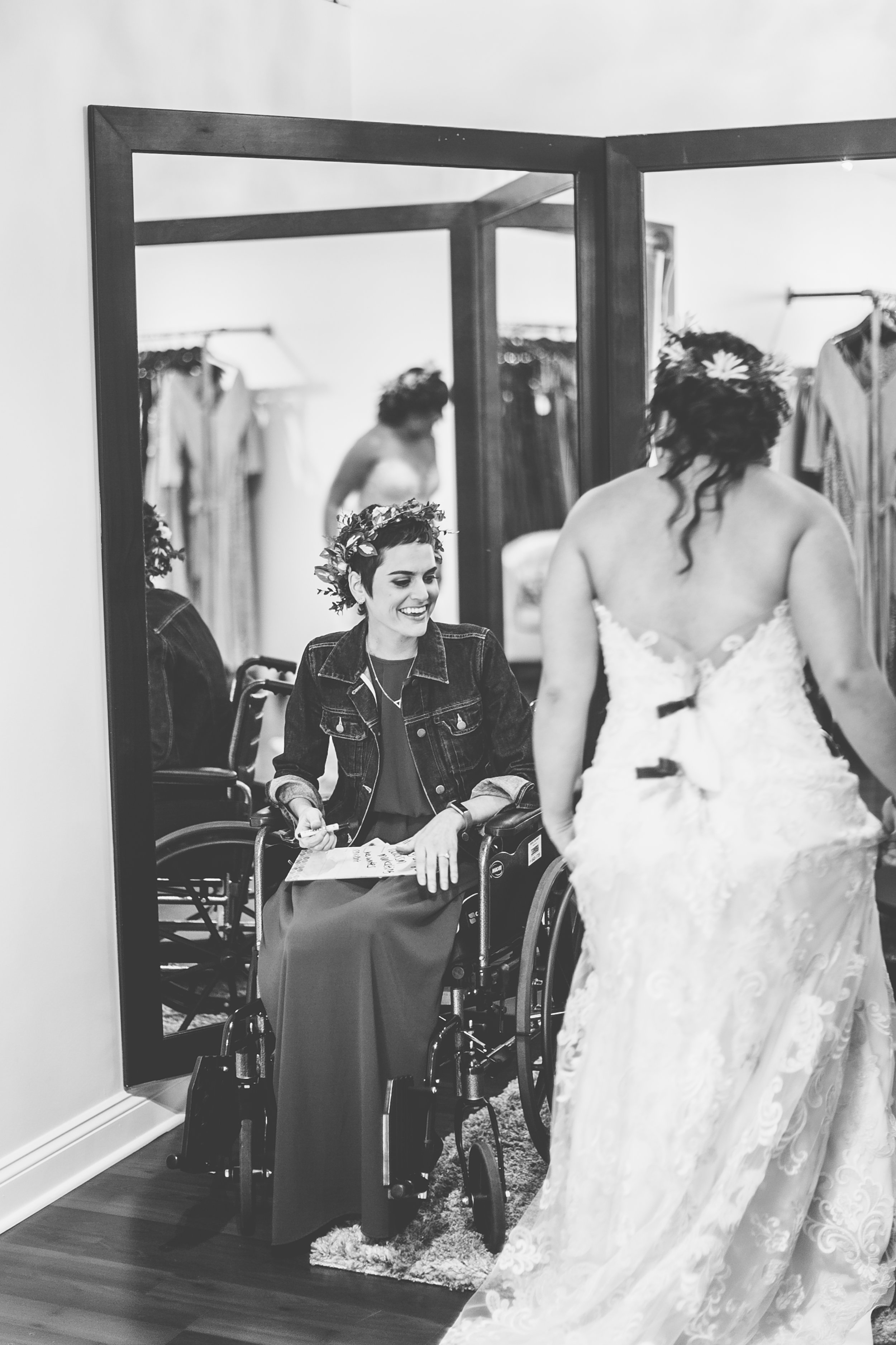 Wedding dress shopping with Abi. (Photo by:  Macon Photography )