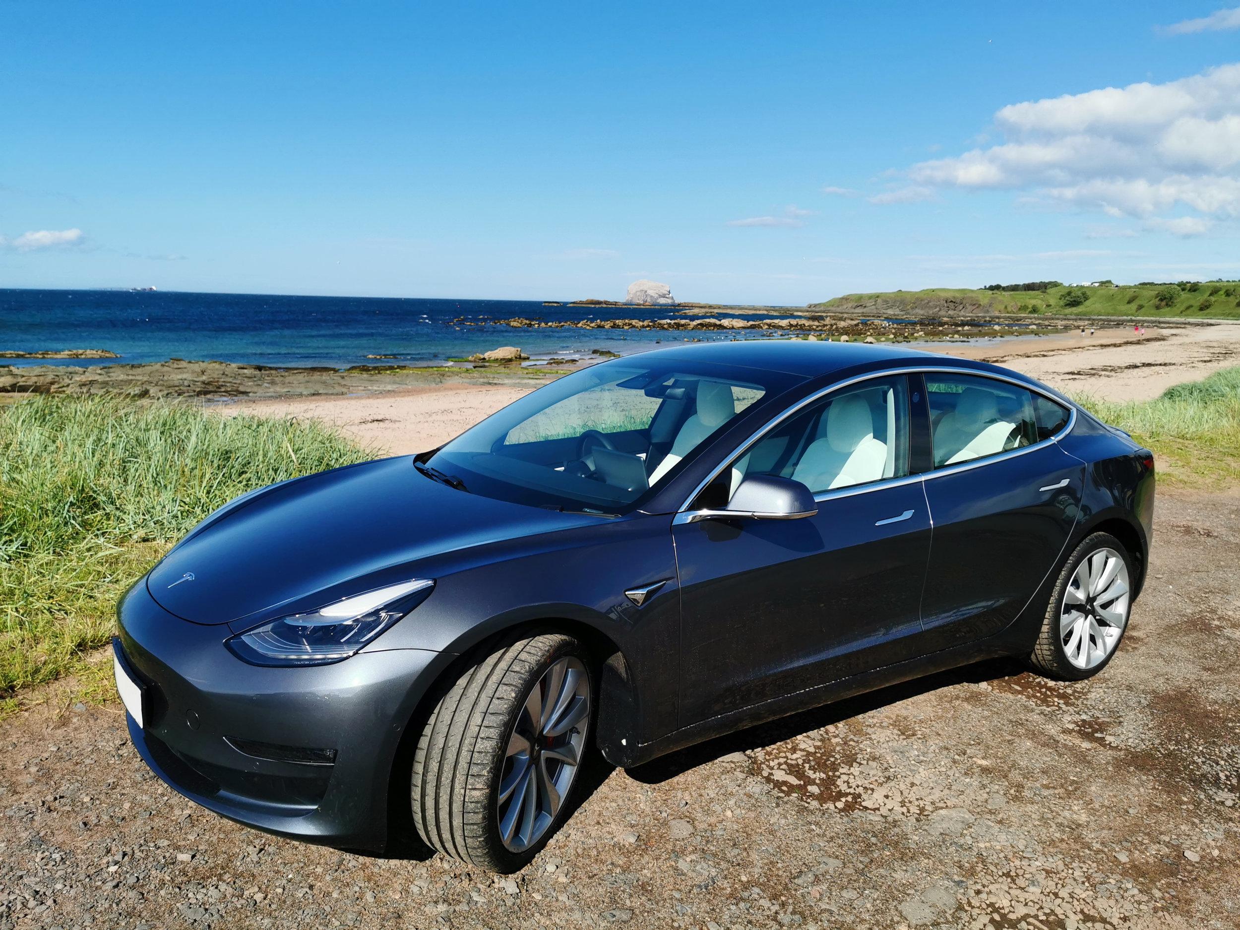 Tesla Model 3 Performance at a beach in North Berwick, Scotland