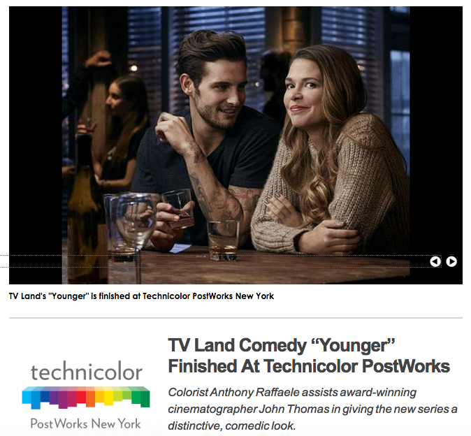 Shoot Online - 'Younger' workflow(June 2015) - In 2015, Mike helped develop a render-less workflow using Filmlight's new Baselight Plug-in for Avid alongside co-worker colorist Anthony Raffaelle which has now been implemented into many network television shows being finished at Technicolor-Postworks.(click image for full article)