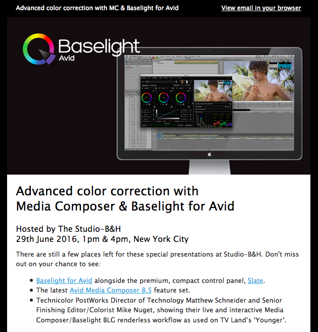 B&H Studio Presentation & AVID webinar (Oct. 2016) - On the heels of a successful NAB presentation, Mike and Matt were asked to do a more