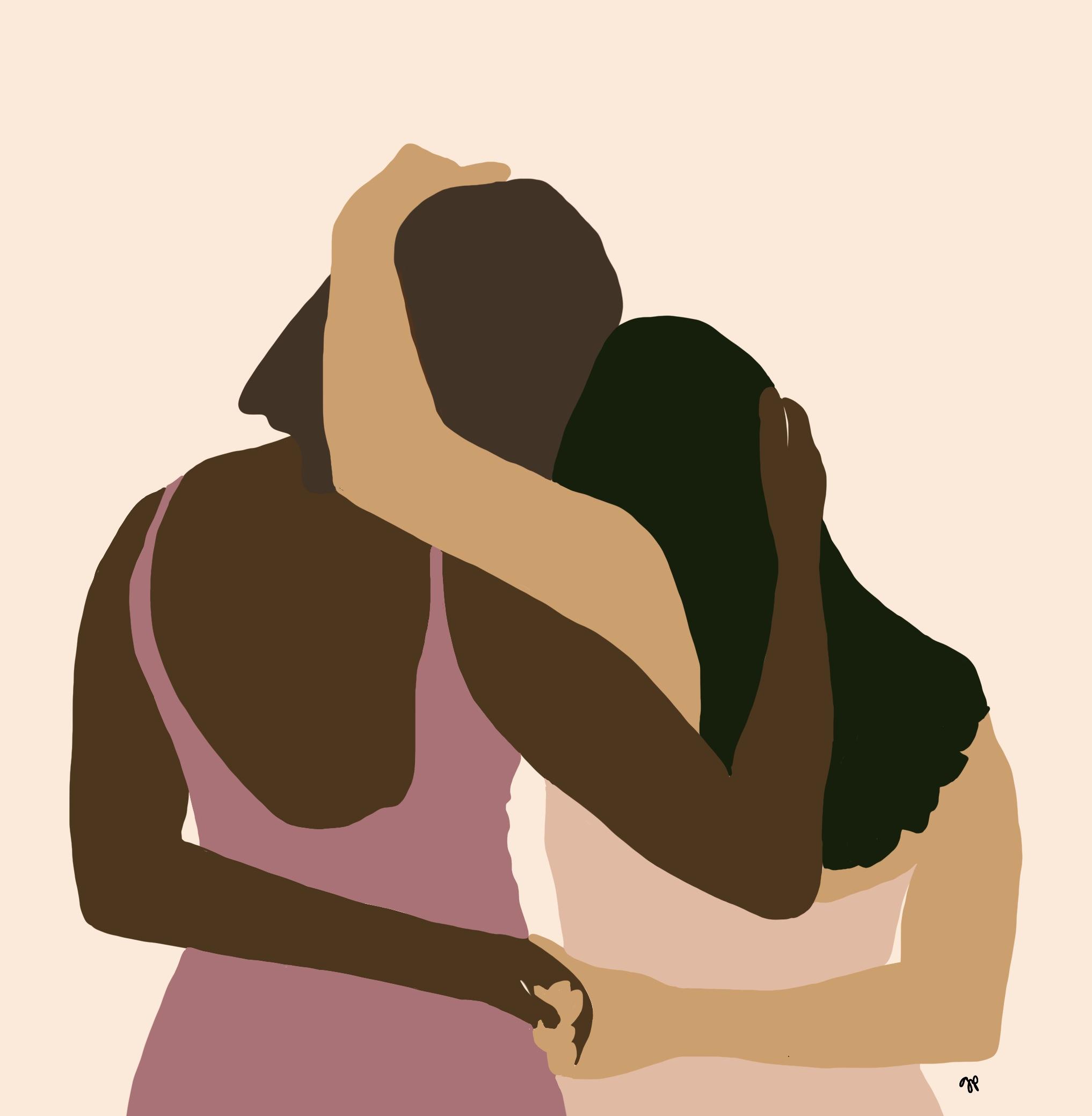 women's embrace by guady pleskacz
