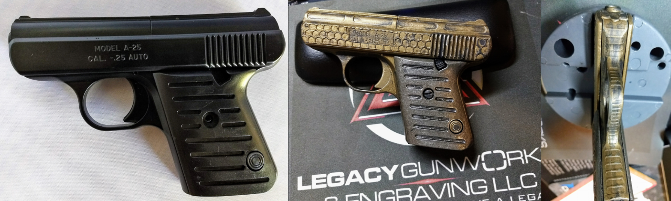 """From drawer """"mouse gun"""" to post-apocalyptic zombie rat killer… Honeycomb and cylinder engraved, 2 tone Cerakote battle-worn job. Cobra throat engraved on the front and back profiles."""