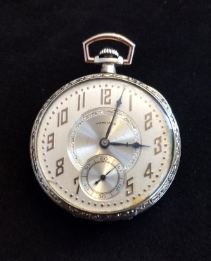 1924 Hamilton pocket-watch. Great grandpa got it from his wife because he liked to pheasant hunt until dusk and kept missing dinner.
