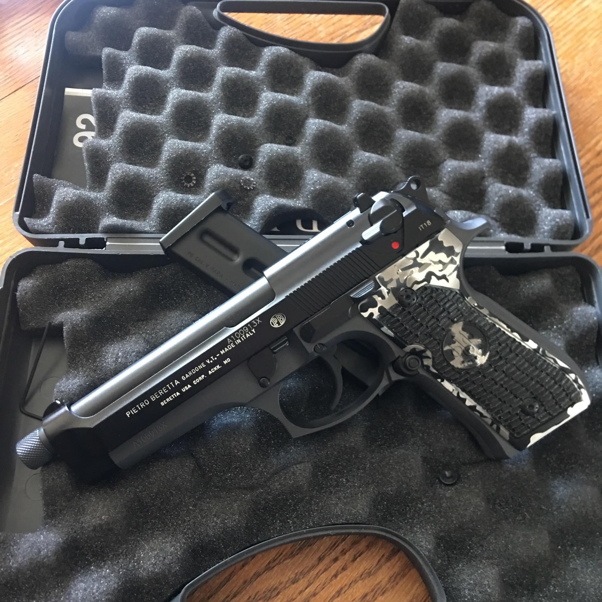 Beretta 92FS stippled, camo cerakote, white filled markings.jpeg