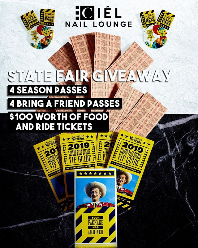 As a way to show our appreciation this year, we would like to giveaway the BIGGEST State Fair of Texas Experience!! 💸💸 Winner will receive: 1) 4 Season Tickets 🎇 2) 4 Bring a Friend Passes 🎟 3) $100 Worth of Food/Ride Tickets 🍖 Total Value: +$300.00 😘 . . . 🎉🎉Giveaway Rules🎉🎉 1) MUST be following @CielNailLounge (We will be checking this daily!) 2) Like this post 3) Tag a friend!! (Every tag counts as an entry, we wanna see who REALLY wants to win)!! 4) Check out our Facebook post for more giveaway details! The winner will be announced on September 27th at noon on our Facebook Page!!! 🎡  #CNL #CielNailLounge #statefairoftexas