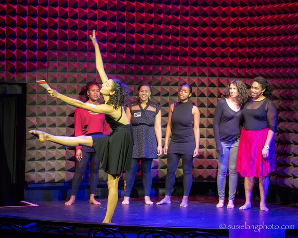 Kayla Banks, Jennean Farmer, Anya Pearson, Monique Sanchez, Reese Antoinette, and Aleca Piper in the showcase production at Joe's Pub at The Public Theater. Photo: Susie Lang.