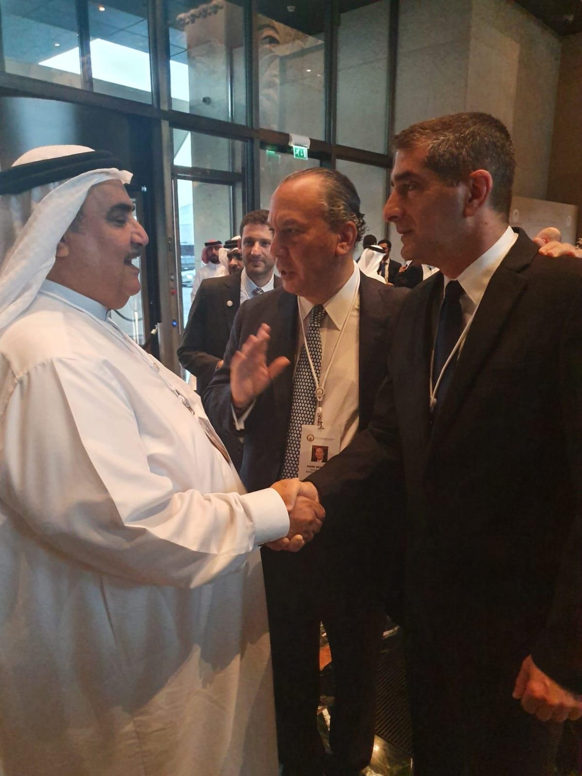 Foreign Minister of Bahrain Sheikh Khalid bin Ahmed Mohammed Al Khalifa, NY Rabbi Marc Schneier and Prof. Kreiss.jpg