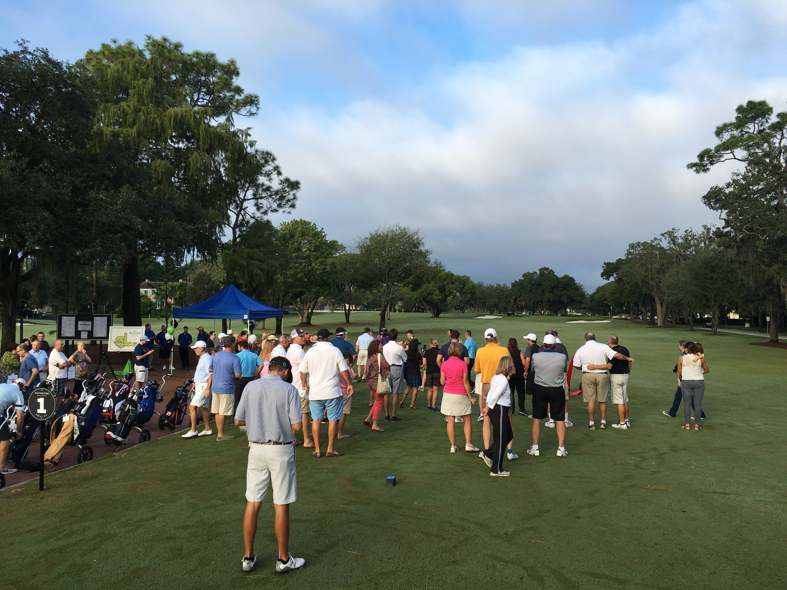 Golfers eagerly await to play on opening day.