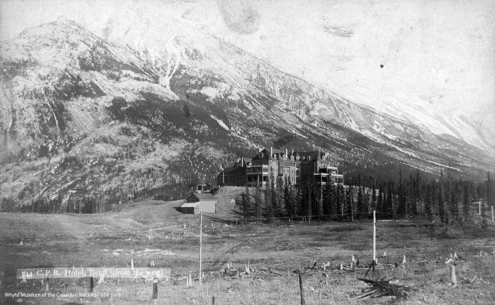 A forest fire in the late 1800's resulted in significantly less forest cover compared with today's landscape - as seen here when the Banff Springs Hotel was first built.