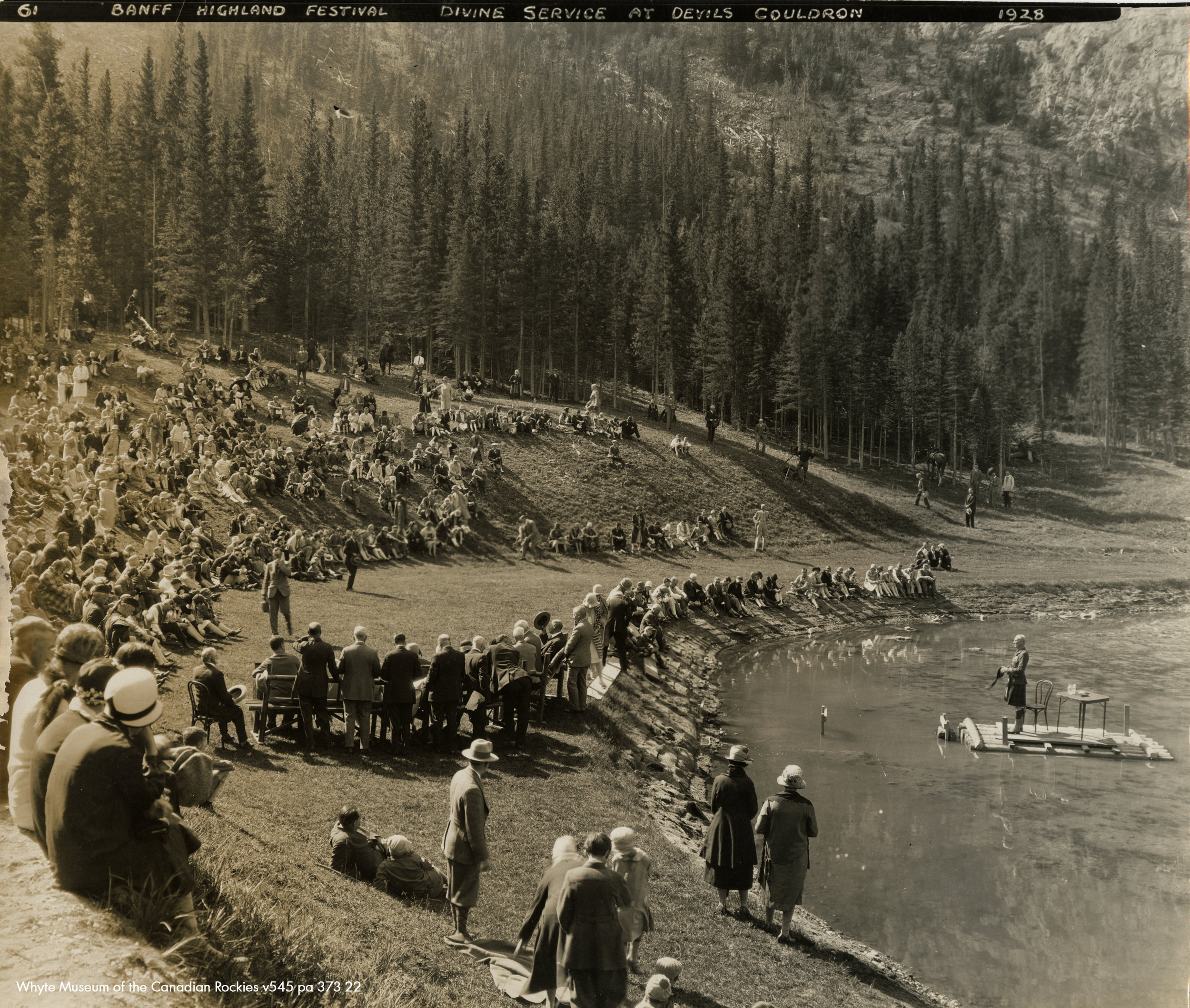 The covenanter services, Banff Highland Gathering conducted by Reverend Ralph Connor in September of 1928 in the Devil's Cauldron. No bunkers present.