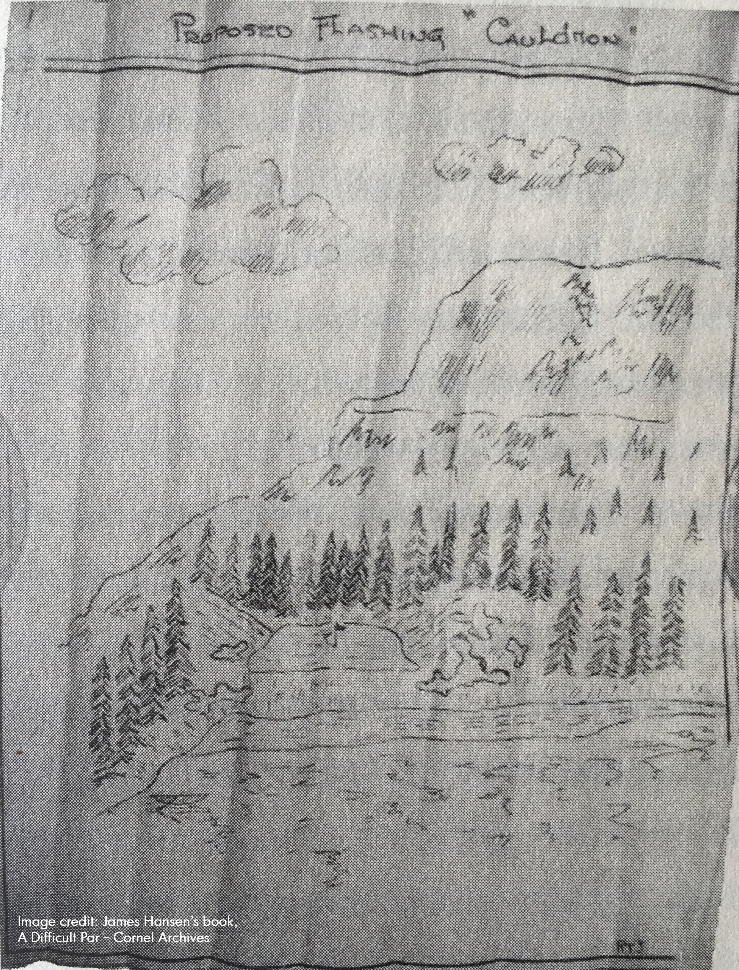 RTJ's sketch from 1932 of the Devils Cauldron depicting proposed bunkering.