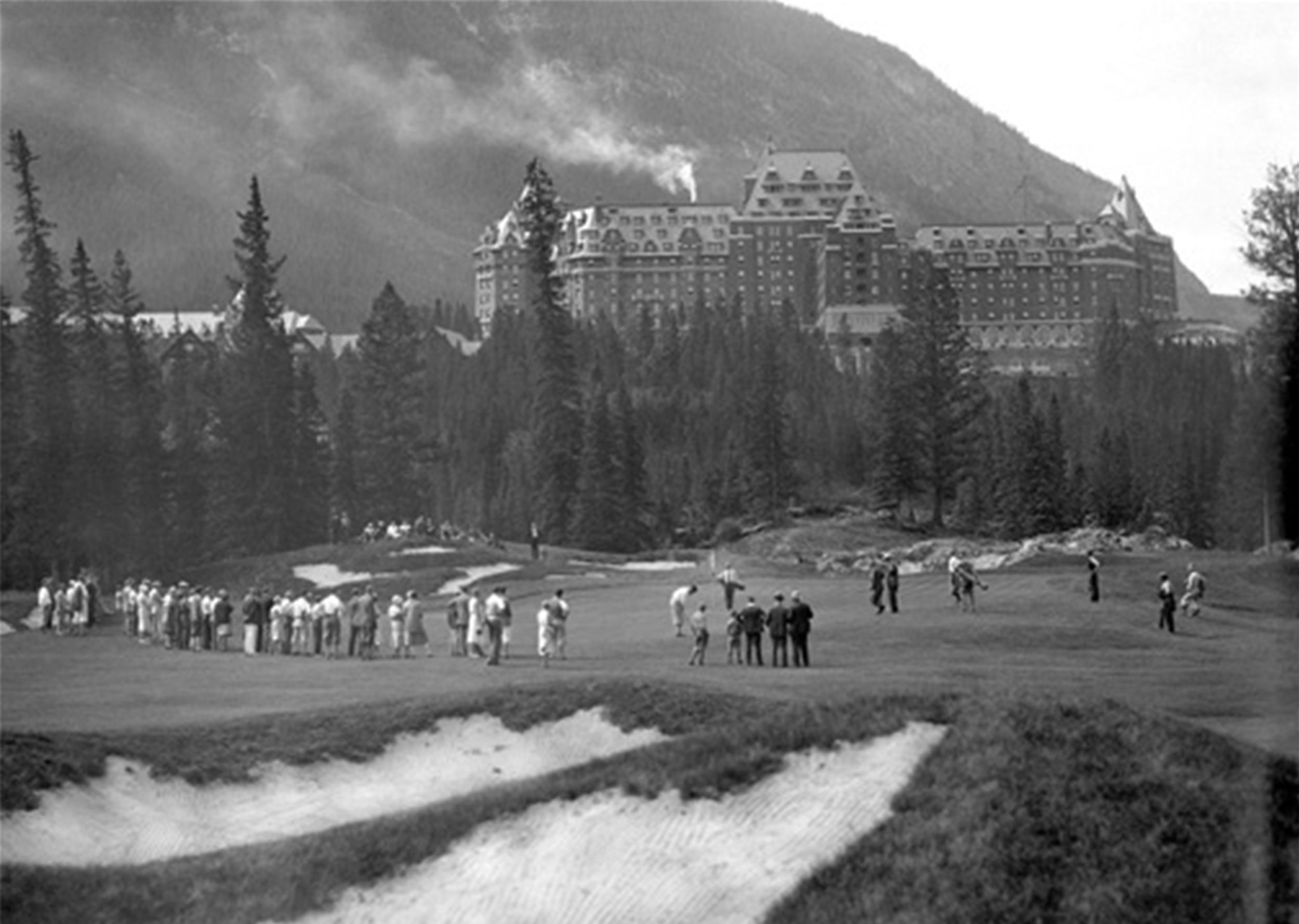 The finishing hole at Banff was just as spectacular as the first. With the Banff Springs Hotel towering above the putting green, and the sounds of Bow Falls crashing less than 300 yards away, the golf experience was unrivaled for the late 1920's.