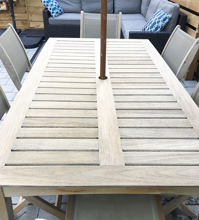 So in love with how this Teak set turned out 😍. Gave this hand-me-down outdoor set a fresh, but still weathered look. Swipe ➡️ for before . . I did a lot of research before taking on this project. Teak is a durable outdoor material but you still have to be very careful with Teak restoration. I gave it a really good scrub and then sanded it with a fine grit. Chairs and some other areas need a little more work and then will be topping it off with Teak sealer . . #outdoor #diy #teak #weatheredteak #beforeandafter #restoration #restoredfurniture #outdoorfurniture #outdoortable #backyard #outdoorfurniture #homedecor #furniture #wood