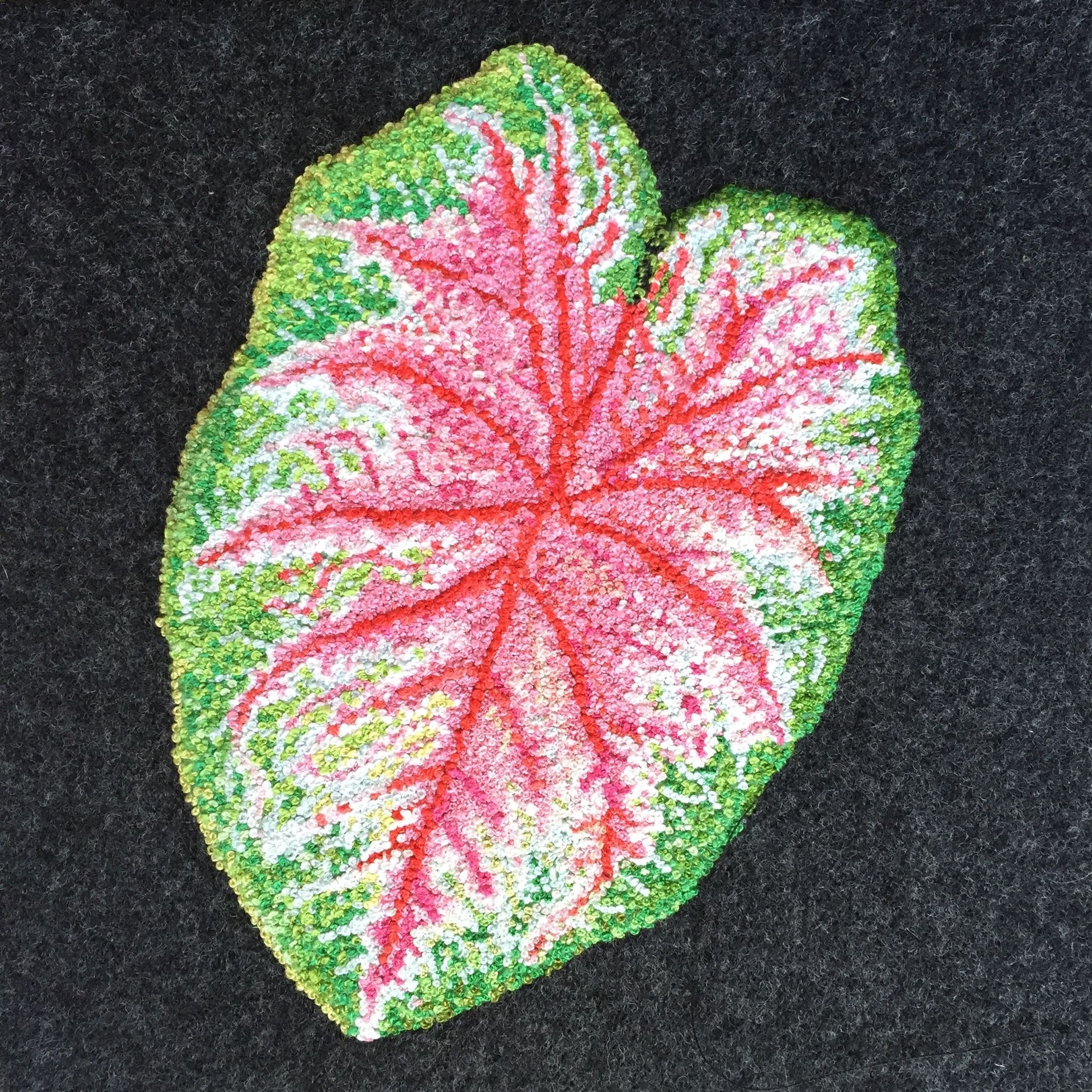 """Caladium,2015, embroidery floss french knots on wool fabric, 6"""" x 6"""" x 1"""""""
