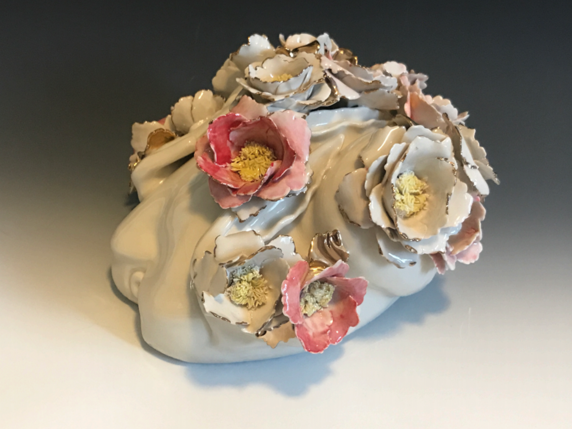"Flesh: Peony, 2017, porcelain, hand-painted decoration, gold luster 11""x9""x7"""