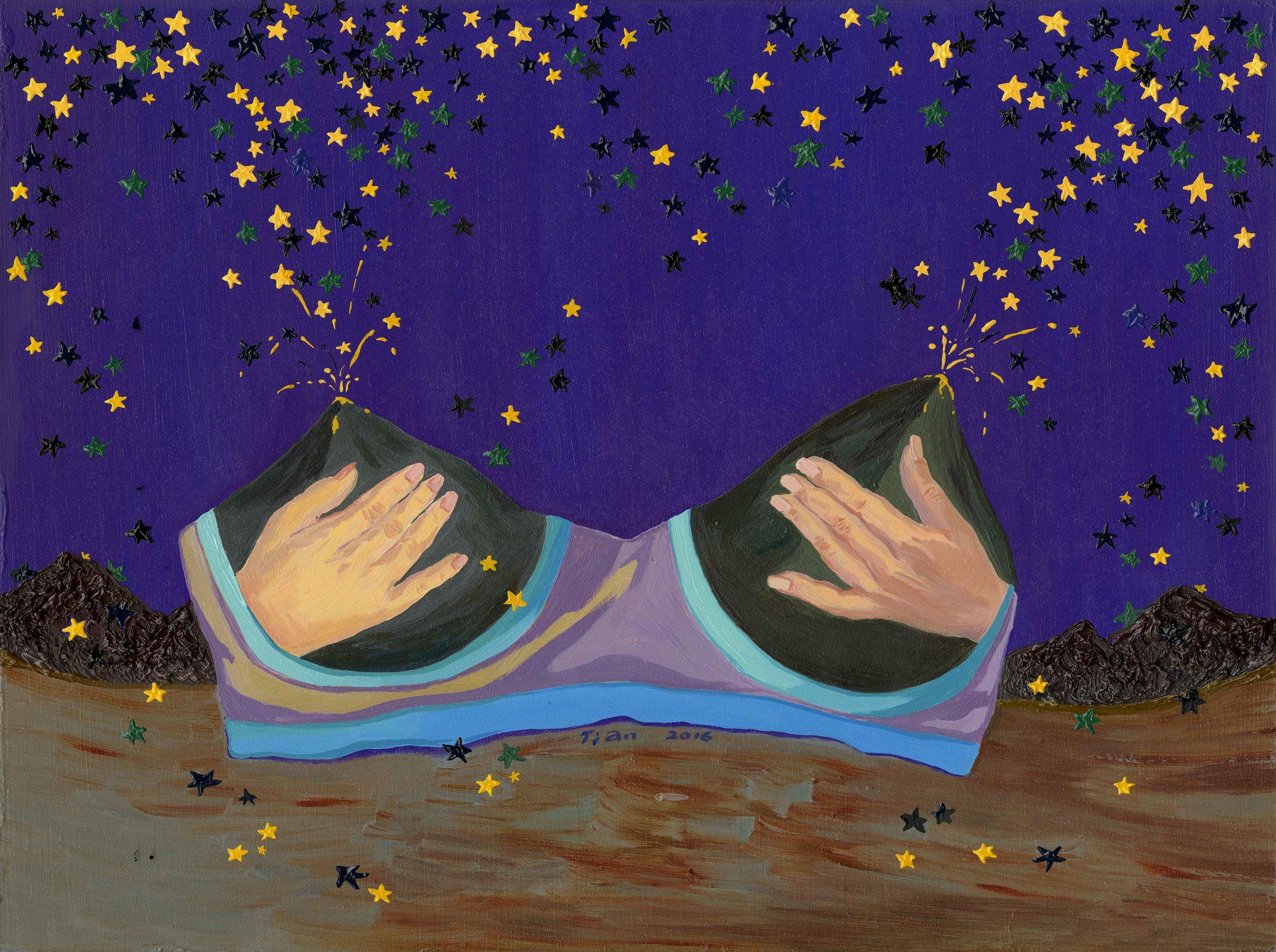 "The Milky Way, 2016, oil on wood panel, 12""X16"""