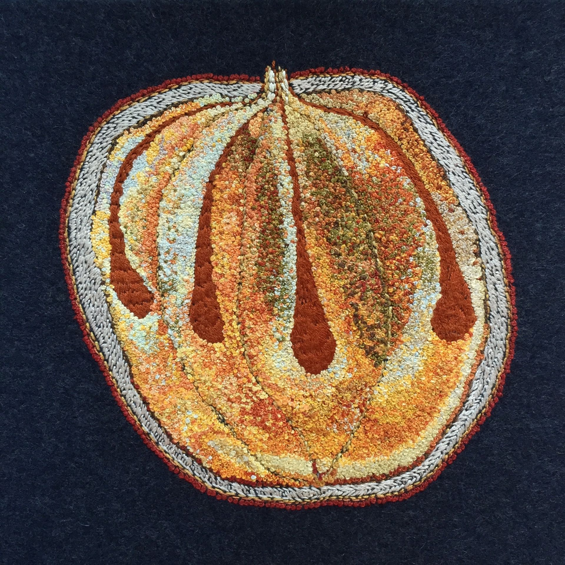 """Seed Head 1, 2016,French knots and wool felt appliqué, 8"""" x 8"""" x 1.5"""""""